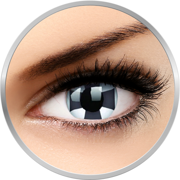 Crazy Black Cross – lentile de contact colorate negre anuale – 360 purtari (2 lentile/cutie) brand ColourVUE cu comanda online