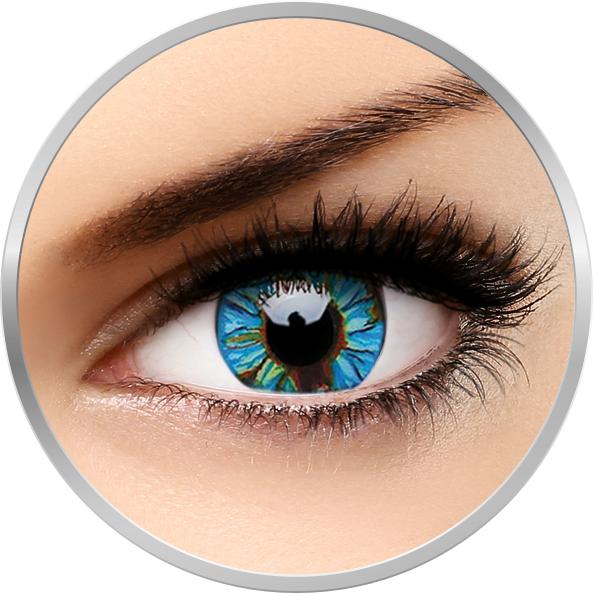 Crazy Blue Streak – lentile de contact colorate verzi/albastre anuale – 360 purtari (2 lentile/cutie) brand ColourVUE cu comanda online