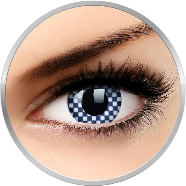 Crazy Chequered – lentile de contact colorate albe anuale – 360 purtari (2 lentile/cutie) brand ColourVUE cu comanda online