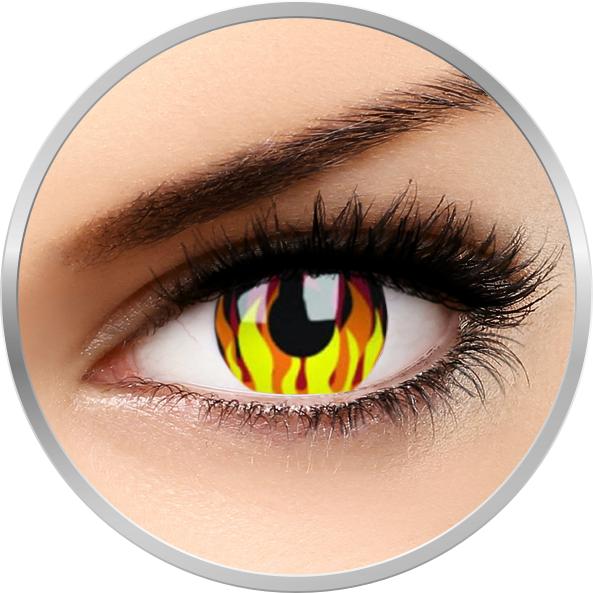 Crazy Flame Hot – lentile de contact colorate galbene anuale – 360 purtari (2 lentile/cutie) brand ColourVUE cu comanda online