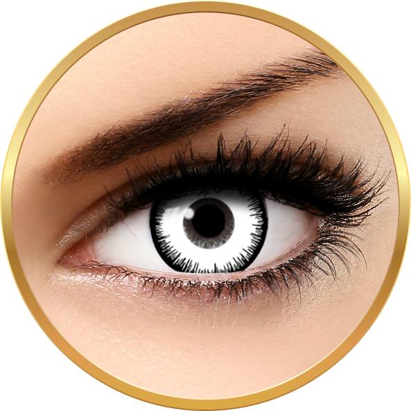 Fantaisie Lunatic White – lentile de contact pentru Halloween anuale – 365 purtari (2 lentile/cutie) brand AuvaVision cu comanda online