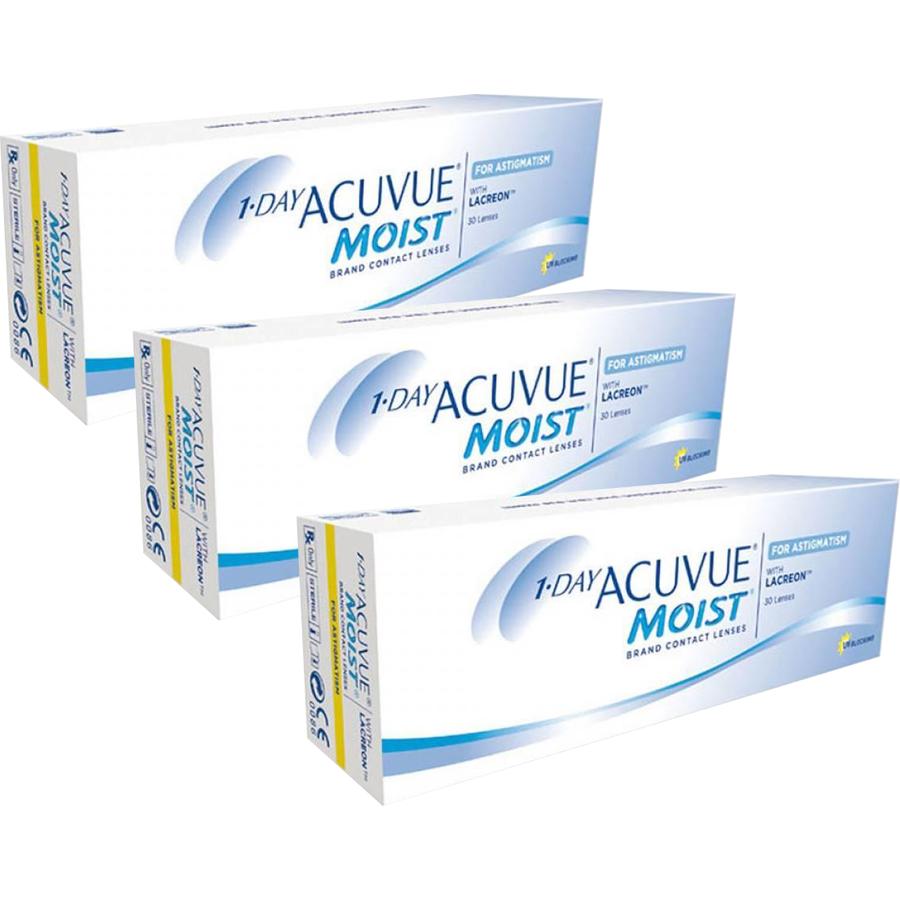Lentile de contact cu dioptrii Johnson&Johnson 1 Day Acuvue Moist for Astigmatism zilnice 3 x 30 lentile / cutie cu comanda online