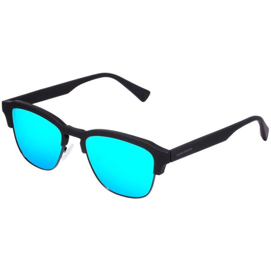 Ochelari de soare barbati Hawkers CLATR02 Rubber Black Clear Blue Classic Browline originali cu comanda online