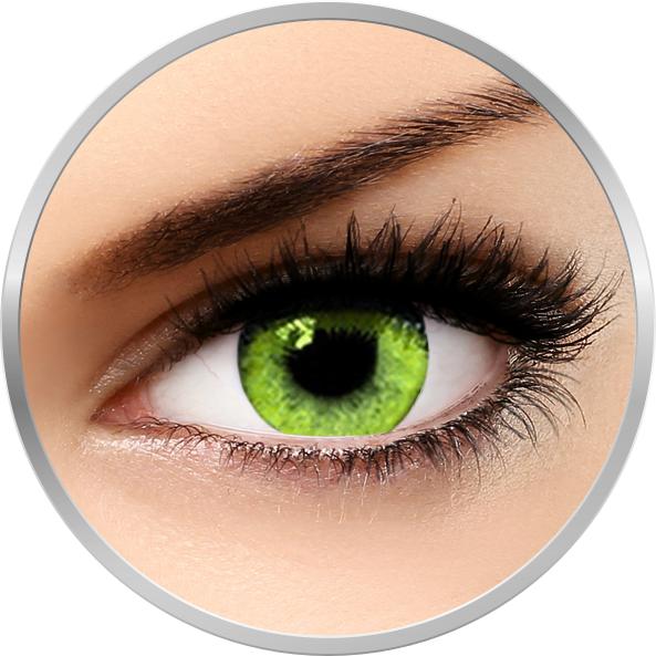 Queen's Solitaire Yellow – lentile de contact colorate verzi-galbene trimestriale – 90 purtari (2 lentile/cutie) brand Soleko cu comanda online