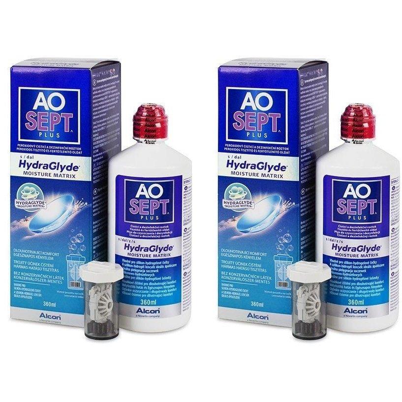 Solutie curatare lentile de contact AO Sept Plus 2 x 360 ml + suport lentile cadou marca Alcon/CibaVision cu comanda online
