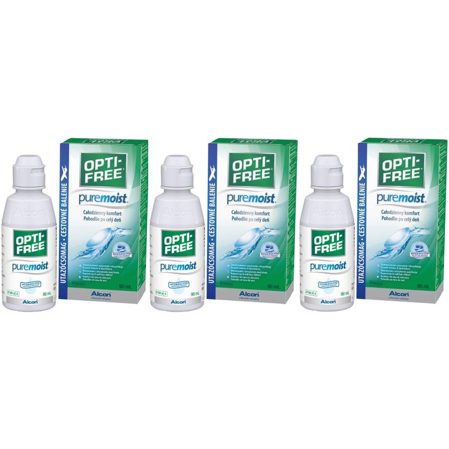 Solutie intretinere lentile de contact Opti-Free Pure Moist 3 x 90 ml + suport lentile cadou marca Alcon/CibaVision cu comanda online