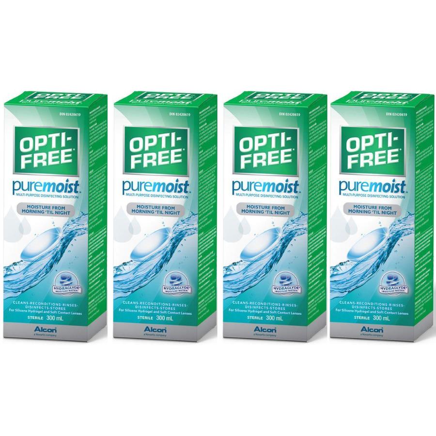 Solutie intretinere lentile de contact Opti-Free Pure Moist 4 x 300 ml + suport lentile cadou marca Alcon/CibaVision cu comanda online