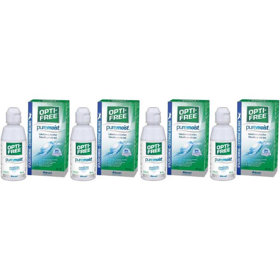 Solutie intretinere lentile de contact Opti-Free Pure Moist 4 x 90 ml + suport lentile cadou marca Alcon/CibaVision cu comanda online