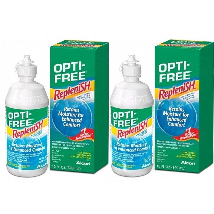 Solutie intretinere lentile de contact Opti-Free RepleniSH 2 x 300 ml + suport lentile cadou marca Alcon/CibaVision cu comanda online