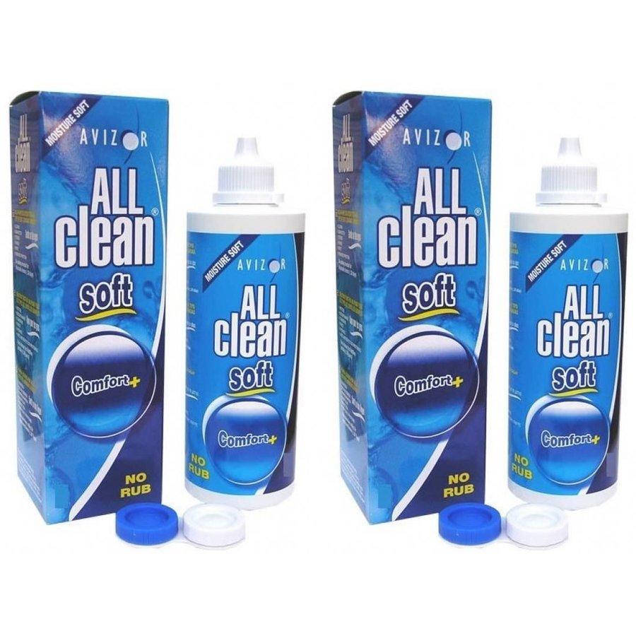 Solutie universala de intretinere All Clean Soft pentru lentile moi 2 x 100 ml + suport de lentile cadou marca Avizor cu comanda online
