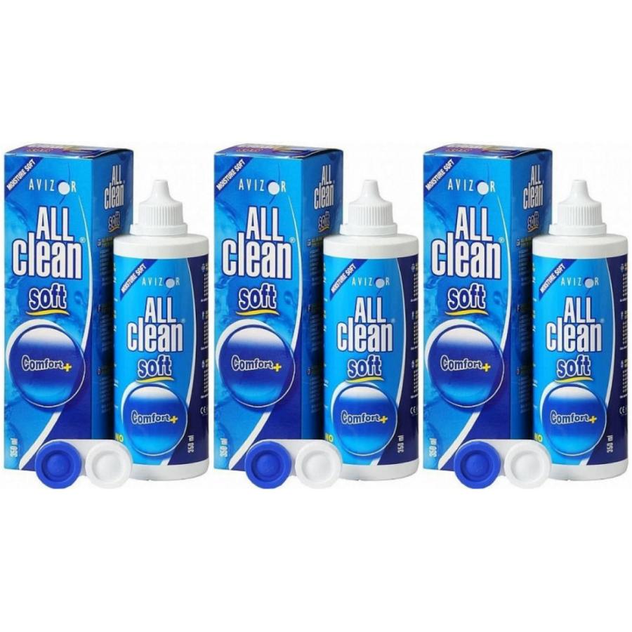 Solutie universala de intretinere All Clean Soft pentru lentile moi 3 x 350 ml + suport de lentile cadou marca Avizor cu comanda online